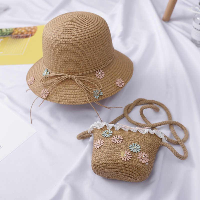 2 pcs เด็กผู้หญิงชายหาด Breathable หมวก Straw Sun หมวก + กระเป๋าสะพาย + กระเป๋าถือเด็กเด็กเสื้อผ้าอุปกรณ์เสริม