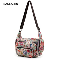 Women Messenger Bags Print Floral Cross Body Shoulder Canvas Hobo Bag Nylon Oxford Fabric Women Handbag