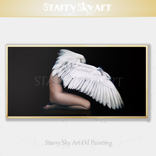 Top Artist Pure Hand-painted Luxury Quality Angel Girl Oil Painting on Canvas Modern Wall Art for Salon Decor