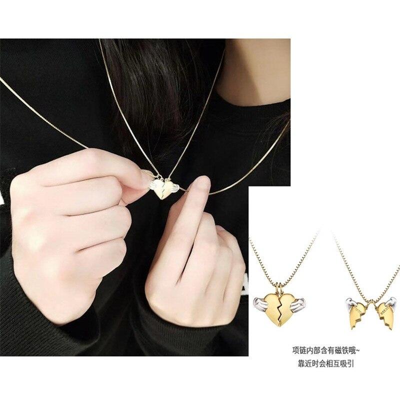 Tiff Pan 925 collier en argent sterling, deux colliers, forme de coeur, tendance wild. Fashion creative dames bijoux