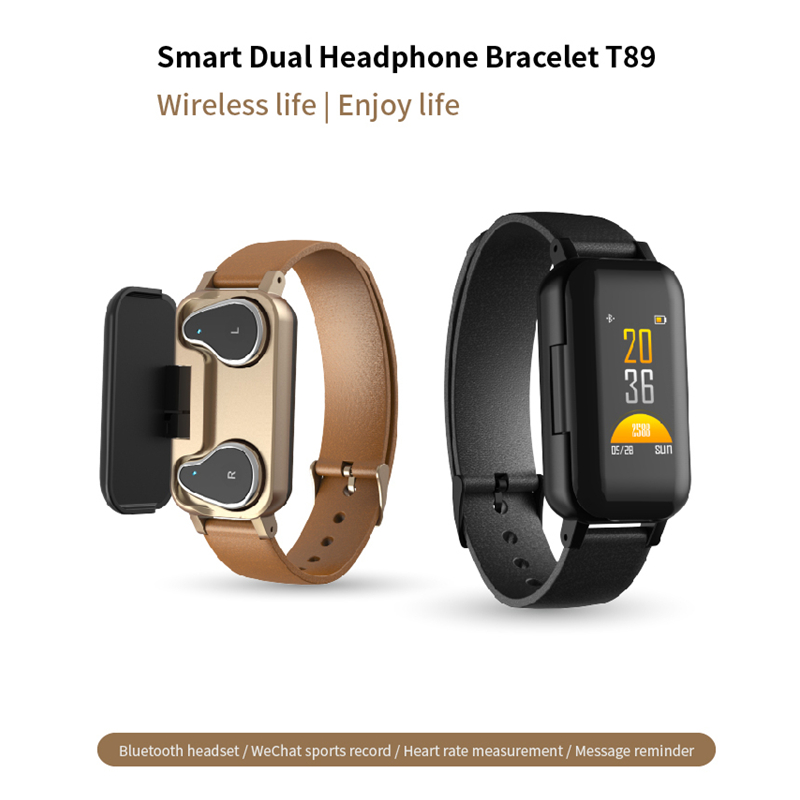 <font><b>T89</b></font> <font><b>TWS</b></font> Dual Bluetooth 5.0 Earphone Smart Bracelet Heart Rate Blood Pressure Tracker Smart Watch Men For IOS Android Phone image