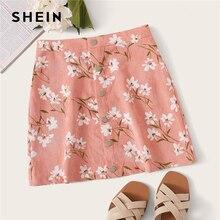 שיין כפתור קדמי לטוס פרחוני הדפסת חצאית Boho קו אמצע המותניים סתיו קטיפה Shift מיני חצאיות ורוד נשים רגיל קצר חצאית