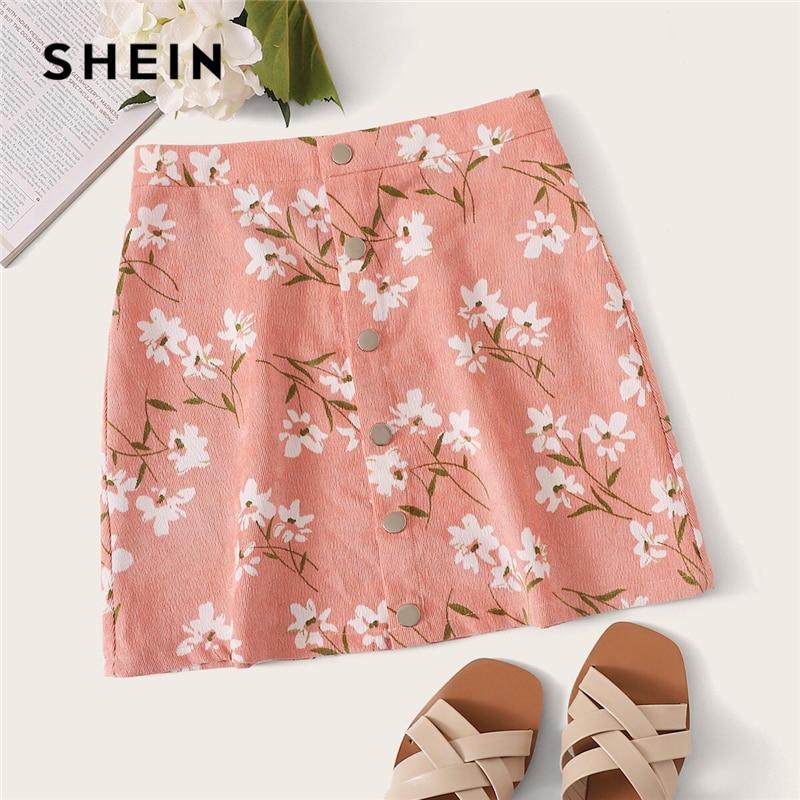 SHEIN Button Front Fly Floral Print Skirt Boho A Line Mid Waist Autumn Velvet Shift Mini Skirts Pink Women Plain Short Skirt