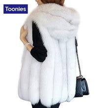 2017 New Winter Fashion Warm Veste Femme 4 Colors Fur Hooded Vest Women Slim Long Women Vest Streetwear Chalecos Mujer For Women
