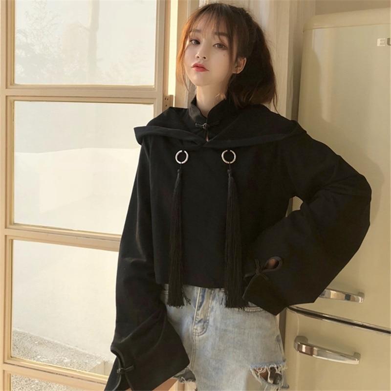 Gothic Vintage Black Women Cropped Hoodie Kpop Punk Harajuku Cute Tassel Pullover Japanese Solid Cool Girl Kawaii Sweatshirts