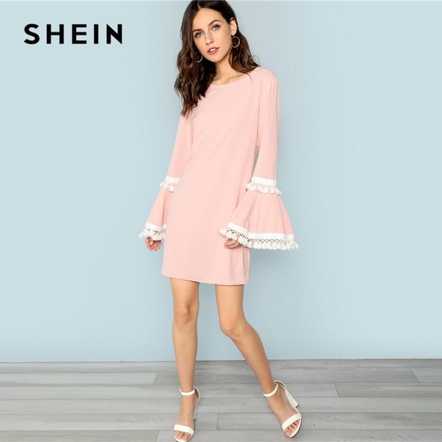 347fd4545fb72 SHEIN Pink Tassel Trim Bell Sleeve Dress Casual Fringe Flounce Sleeve Short  Dresses Women Autumn Plain Trapeze Mini Dress