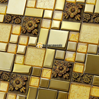 golden crystal glass mixed 3D carved flower plating steel mosaic tiles for kitchen bedroom living room wall floor tiles