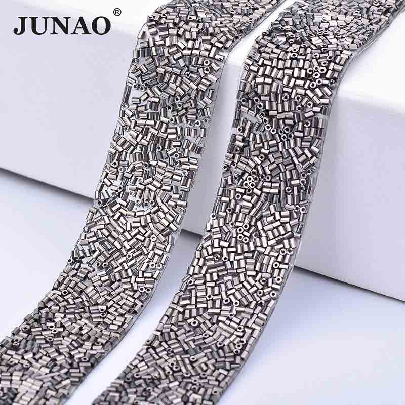 4cf90a2ab3 JUNAO 23*360mm Gray Color Crystal Self Adhesive Rhinestones Trim Glass Tube  Beads Trim Strass Band for Shoes Bag Decor Accessory