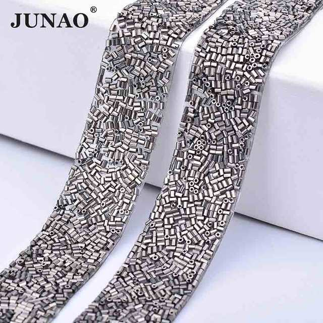 JUNAO 23 360mm Gray Color Crystal Self Adhesive Rhinestones Trim Glass Tube  Beads Trim Strass 4f638ef4d72a