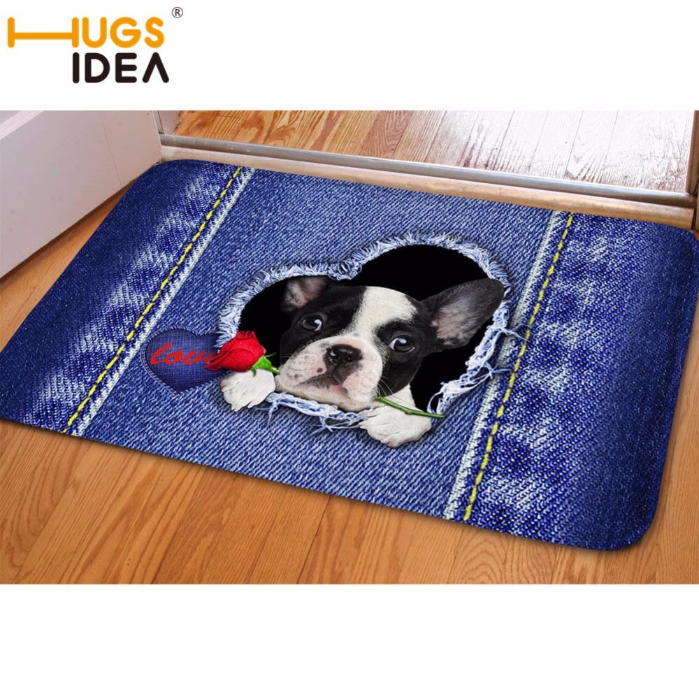 HUGSIDEA Denim Cat Dog Anti-Slip Waterproof Door Mat Paint Flower Kitchen Carpets Bedroom Rugs Decorative Stair Mats Home Decor
