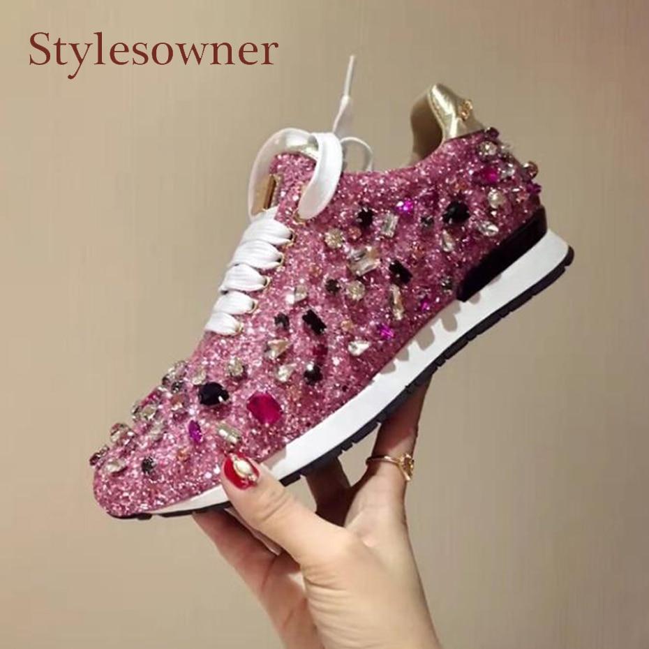 Stylesowner роскошные стразы кроссовки на шнуровке яркая бижутерия смешанный цвет плоские туфли кристалл блестка удобная женская повседневная ...