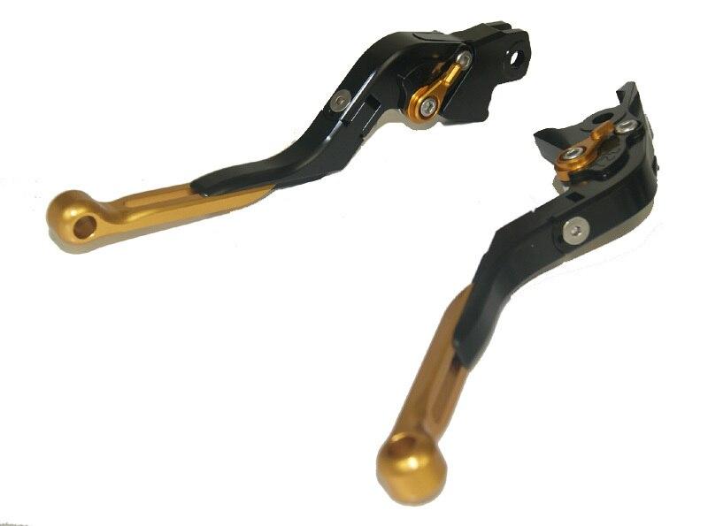 Motorcycle Brake Clutch Levers Adjustable Folding Extendable Gold+Black For 2004-2007 Honda CBR1000RR CBR 1000 RR FIREBLADE billet adjustable long folding brake clutch levers for honda cbr600rr 07 14 09 10 11 12 cbr1000rr cbr 1000 rr fireblade 08 14 13