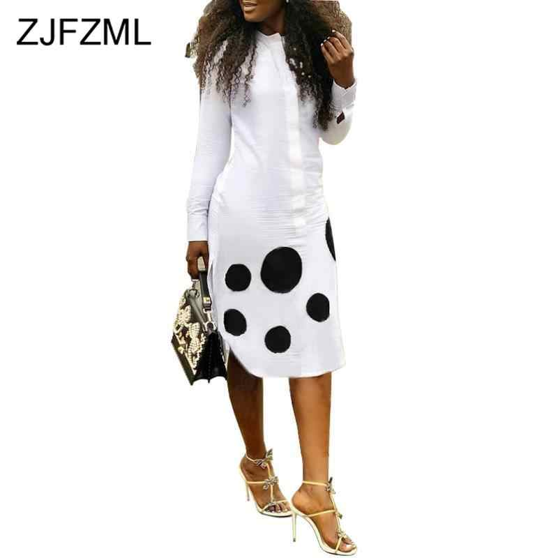 Black White Polka Dot Sexy Shirt Dress Women Stand Collar Long Sleeve Club Party Dress Office Ladies Plus Size Knee-Length Dress