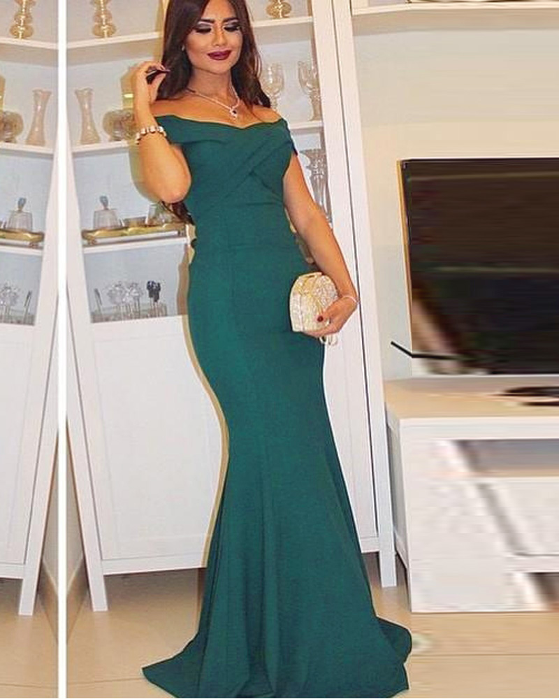 2015 Dark Green Mermaid Prom Dresses With Off The Shoulder Long ...