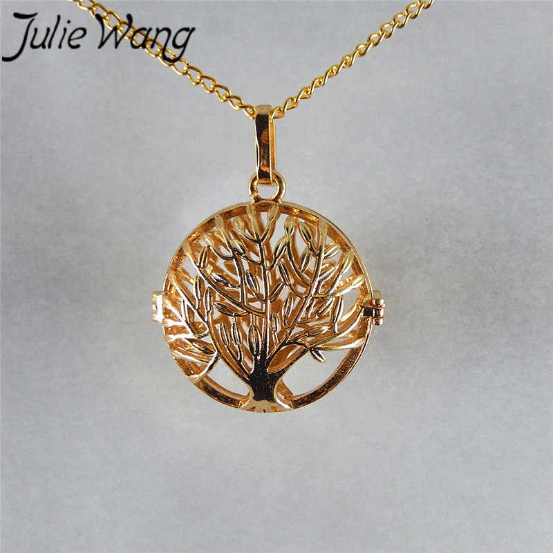 Julie Wang KC złoty brąz wycinanka okrągłe 1 pc koraliki Cage medalion pole wielkie drzewo drzewo świata klasyczny w stylu Vintage naturalny styl na co dzień