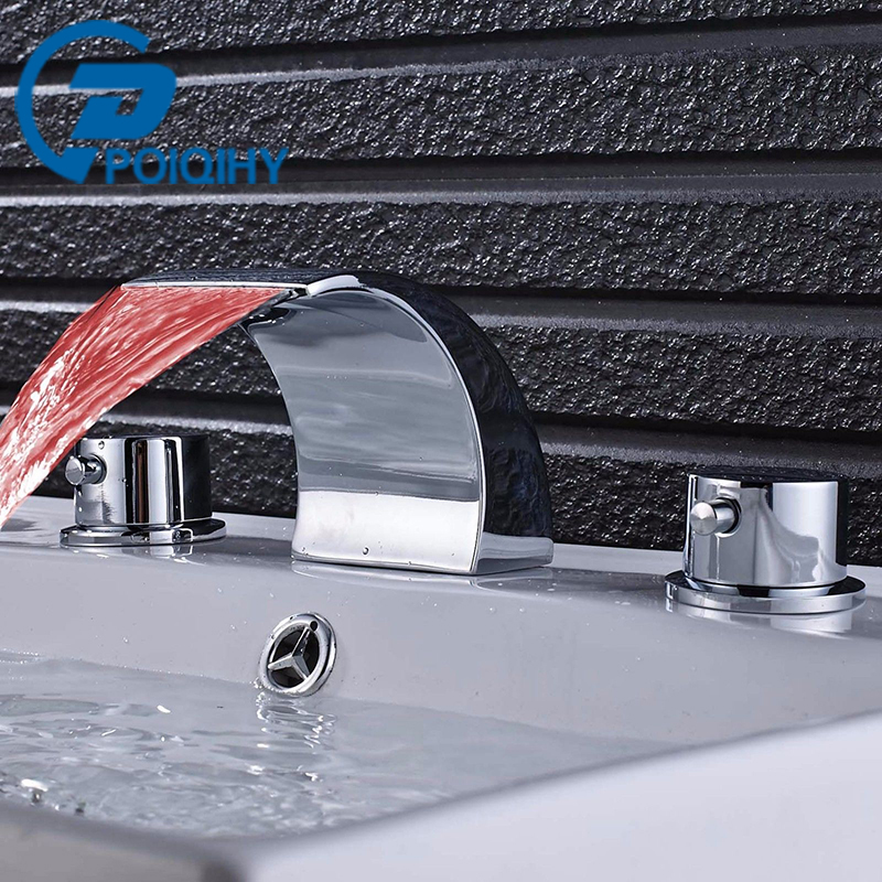 Poiqihy basin sink faucet chrome basin faucets double - Long bathroom sink with two faucets ...