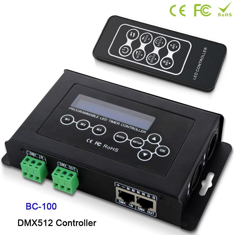 BC-100 contrôleur DC9V RGB DMX512 signal 170 Pixels contrôleur de lumière led affichage LCD et télécommande sans fil RF pour module de bande led
