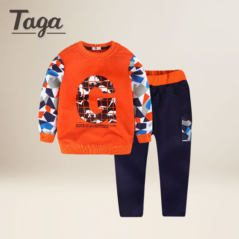 TAGA 2018 Sports suit boy kids Spring childrens sweatshirts clothing toddler sportswear Underwear Long-sleeved T-shirt Trousers