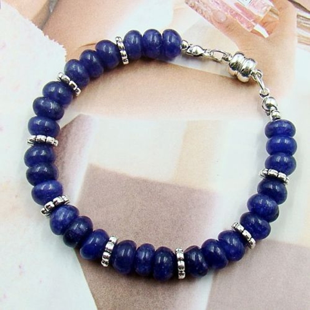 Vintage Classic Laboratory-created Natural Stone Jewelry Handmade Noble Sapphires  Beaded Bracelet  magnetic clasp 19cm