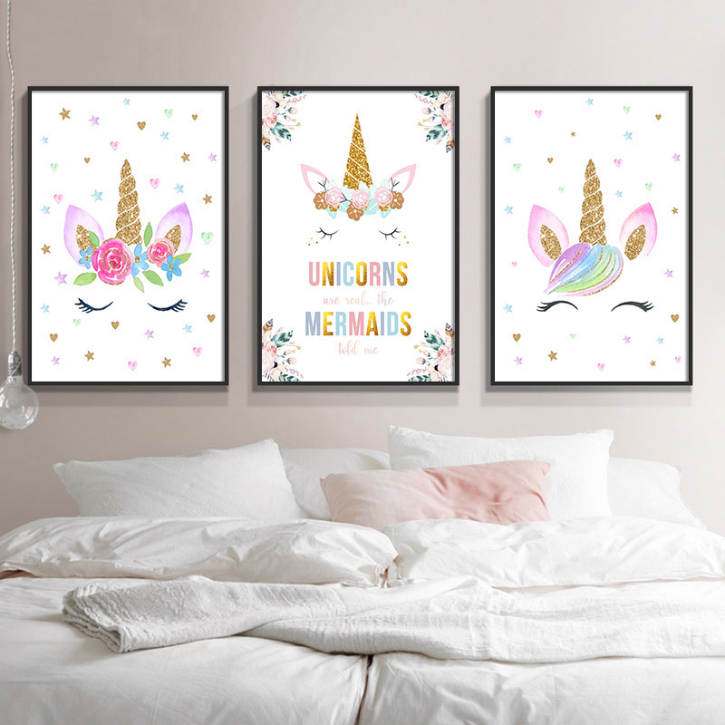 Nursery Posters Prints Unicorn Wall Art Poster Cartoon Canvas Painting Nordic Kids Decoration Pictures Baby Home Bedroom Decor in Painting Calligraphy from Home Garden