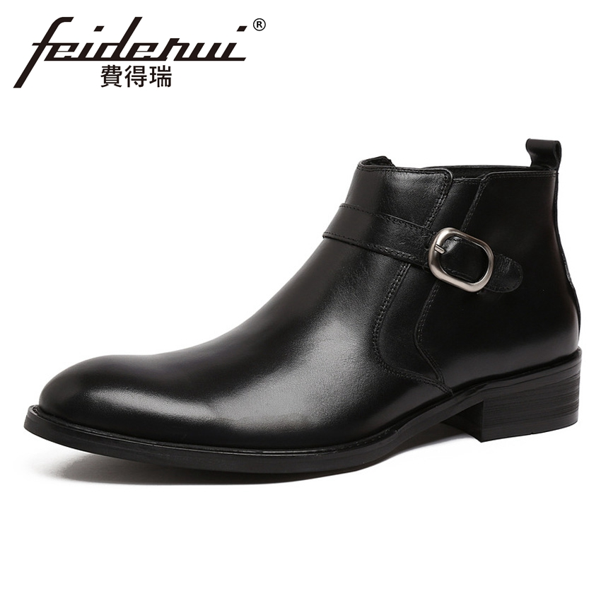 Luxury Genuine Leather Men's Martin Ankle Boots Round Toe Handmade Cowboy Outdoor Formal Dress Man Wedding Party Shoes YMX432 british style genuine leather men s platform martin ankle boots round toe handmade cowboy outdoor formal dress man shoes ymx447