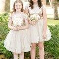 Gold Flower Girl Dresses 2016 Short Princess Kids Prom Dresses Pageant First Communion Dresses For Girls