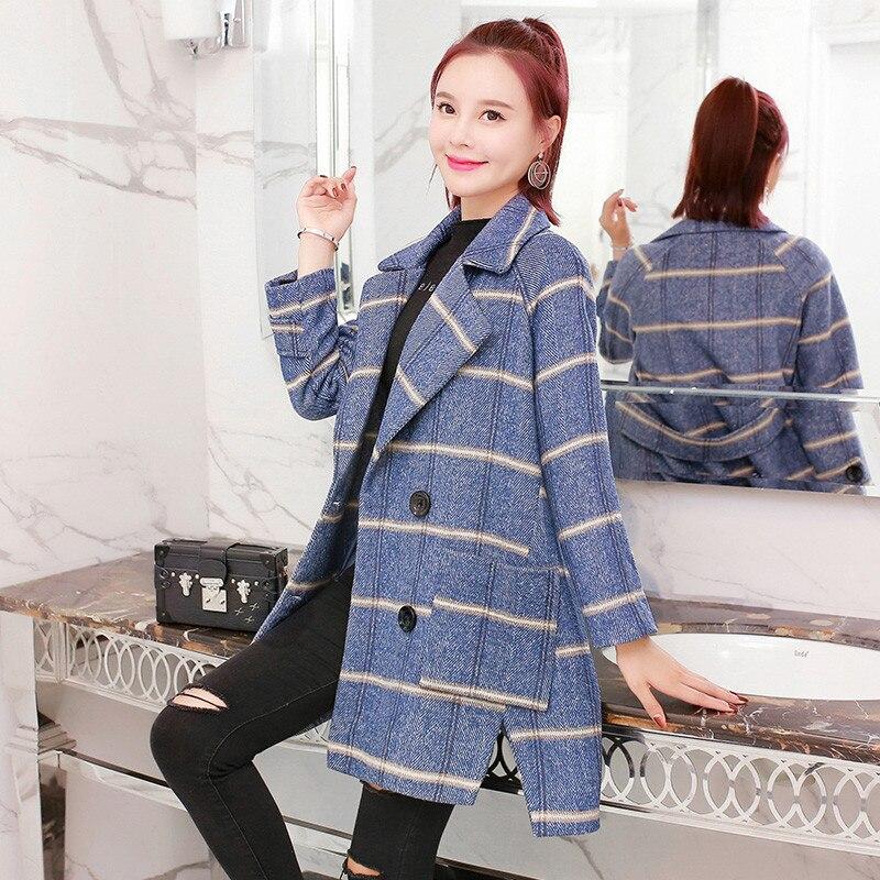 khaki Nouvelle Double Mode Lady 2018 De Tempérament À Dd0839 Vêtements Laine Automne Femmes Veste Boutonnage Moyen Blue Manteau Long Carreaux xvqXwHw