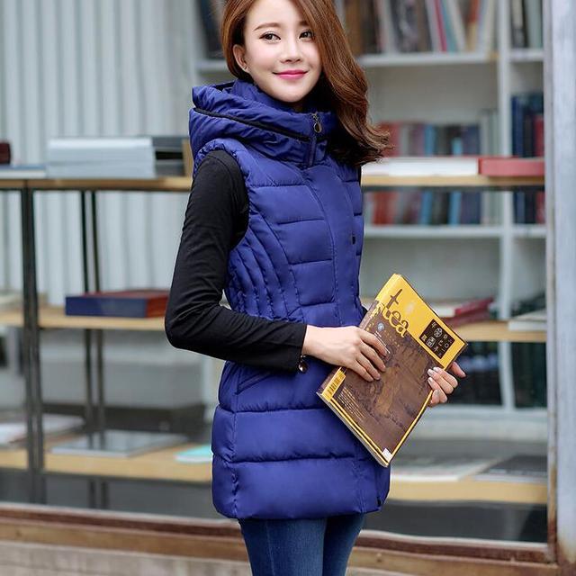Новый Вниз хлопка зимние женские пальто длинный Тонкий капюшоном хлопка жилет жилет женщин мода повседневная теплый пиджаки пальто vestidos