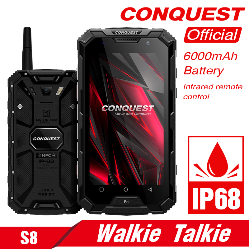 CONQUEST S8 Rugged <font><b>Smartphone</b></font> 4GB 64GB Walkie Talkie IP68 Phone GLONASS <font><b>6000mAh</b></font> Battery NFC 4G LTE IP68 Shockproof Rugged Phone image
