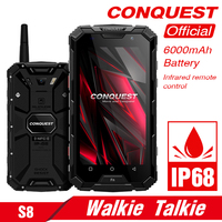 CONQUEST S8 IP68 rugged smart phone 4GB 64GB Android 7.0 Octa Core waterproof mobile phone NFC/IR/SOS/OTG/FM/Walkie talkie