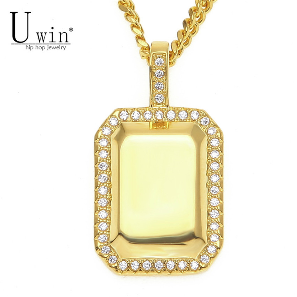 UWIN Iced out Copper Square Dog Tag Pendant Necklace Bling AAA Cubic Zircon Gold Silver Mens Women Hip hop Necklace Chain