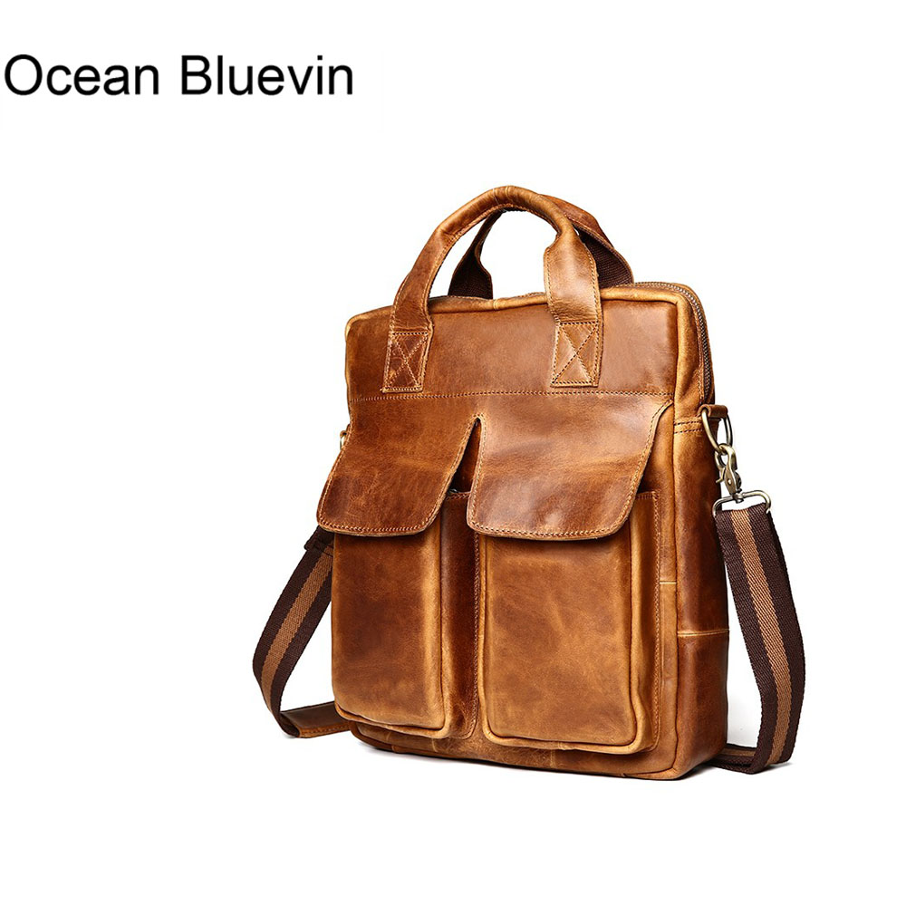 OCEAN BLUEVIN Genuine Leather Men Bag men's Briefcase Fashion cowhide Men's Messenger Bags Tote Shoulder crossbody bags Handbags genuine leather fashion women handbags bucket tote crossbody bags embossing flowers cowhide lady messenger shoulder bags