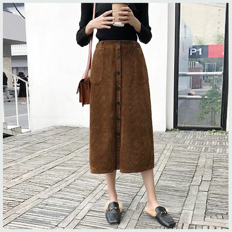 Corduroy Skirts Autumn Winter Skirt Long For Women 2018 Korean Mid-calf Women High Waist Package Vintage Pockets Ladies Skirts