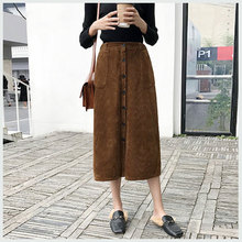 Corduroy Autumn Winter Long For Women 2018 Korean Mid-calf High Waist Package Vintage