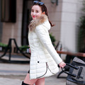 2016 new winter coat girls long raccoon fur collar Korean fashion show thin slim women's cotton padded jacket