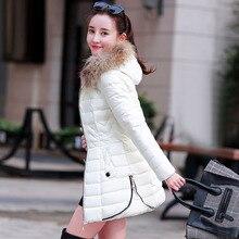 2016 новых зимнее пальто девушки длинные енота меховым воротником Корейской моды показать тонкие тонкий женщин хлопка ватник