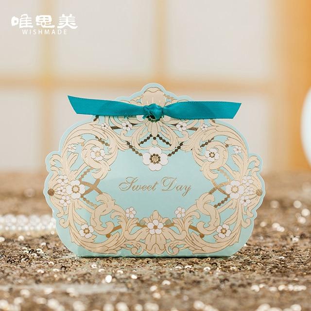 50pcslot Turquoise Elegant Wedding Invitation Candy Boxes Luxury