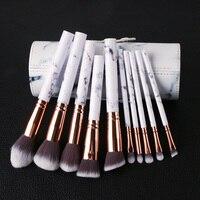10Pcs Marble Pattern Makeup Brush Set Foundation Powder Marbling Contour Blending Cosmetic Brush For Woman Makeup