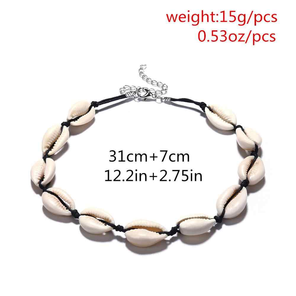 Bohemian Beach Shell Necklace Natural Seashell Collar Choker Black White Rope Chain for Women Charm Conch Cowrie Summer Jewelry
