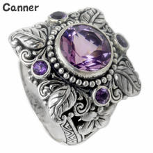 Canner Women Vintage Purple Zircon Round Shape Rings Boho Flower Engagement Wedding Fashion Jewelry W25