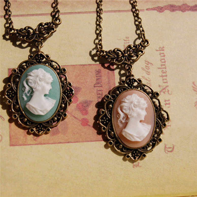 BOAKO New Vintage Style Bronze Light Blue Cameo Necklace Beauty Head Sculpture Pendant Necklace for Women collier femme X7-M2