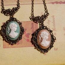 ¡Nuevo! collar de camafeo azul claro de bronce de estilo Vintage de BOAKO, COLLAR COLGANTE con escultura de cabeza de belleza para mujer, collar de mujer, X7-M2