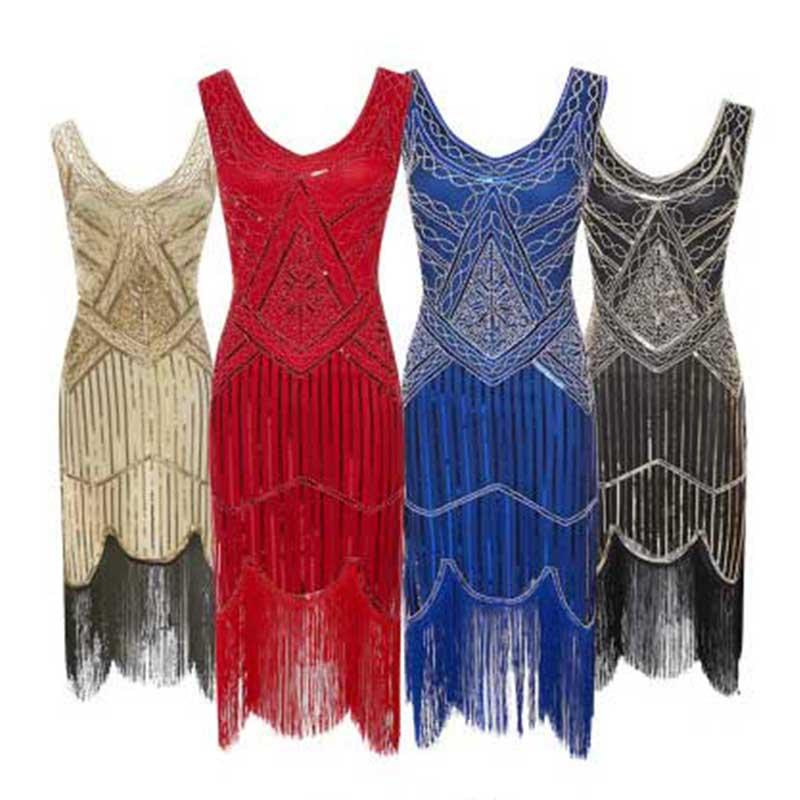 New Sexy Sleeveless Royal Black Embroidery Fringe Great Gatsby Party Dress Women Dress Sequin Beaded Tassels Hem Flapper Dress