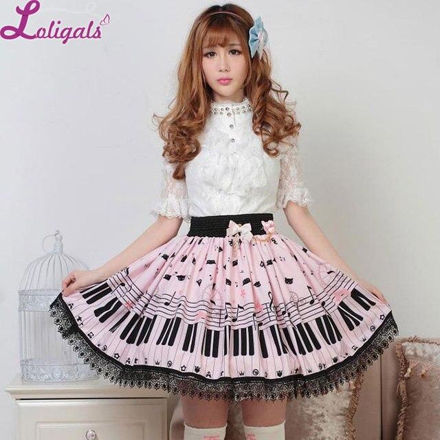Милая Короткая юбка Лолиты, милая летняя юбка с принтом рояльных ключей и мелодий для женщин