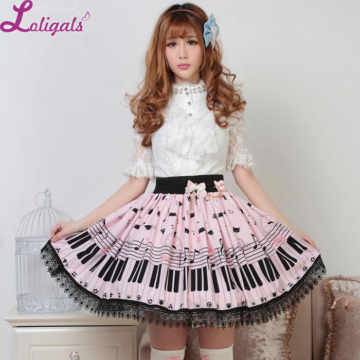 Sweet Lolita Short Skirt Cute Piano Key y Melody Printed Summer Skirt para Mujeres