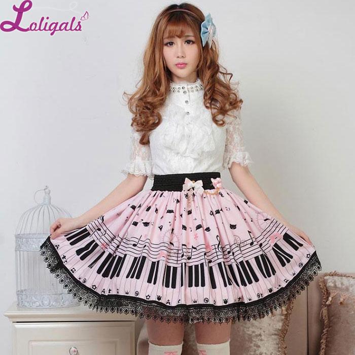 Sweet Lolita Short Skirt Cute Piano Key And Melody Printed Summer Skirt For Women