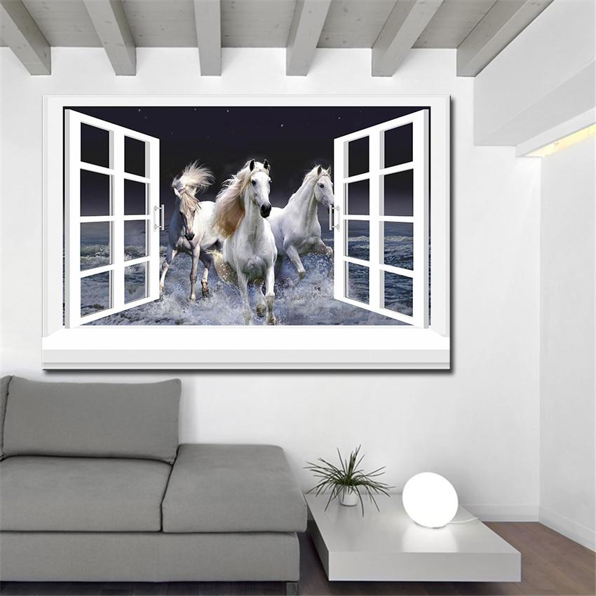 ᗑ】3D eficaz Windows caballo pared pintura inicio arte decorativo ...