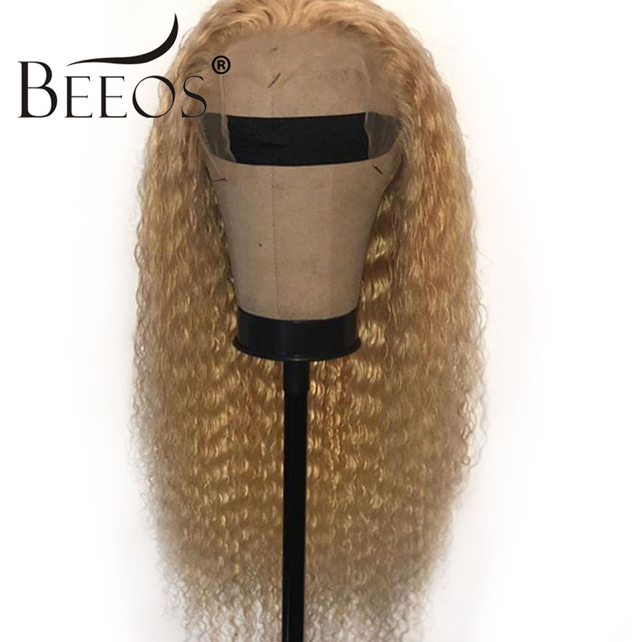 Beeos 613 Blonde Curly 13*4 Lace Frontal Human Hair Wigs Brazilian Long Remy Pre Plucked Transparent Lace Front Human Hair Wig image