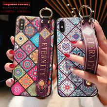 pattern Wrist Strap Soft TPU Case For iphone 7 8 6 6s plus Case For iphone X Xs max XR Vintage Flower Pattern Phone Holder Case