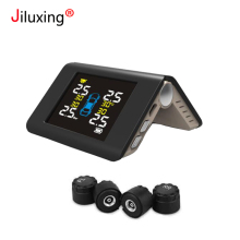 hot deal buy jiluxing tpms tyre pressure monitoring system wireless sensor solar charging digital lcd display auto security alarm systems usb